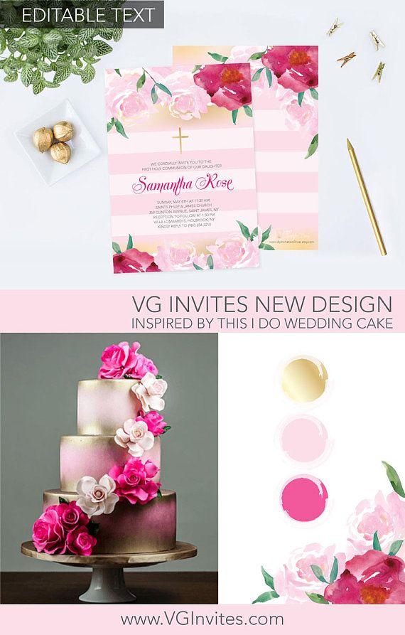 online editable wedding invitation templates%0A Girls Holy First Communion Invite Baptism Invitation Girl    Invitations  OnlinePrintable