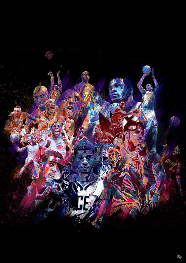 NBA Heroes by Riccardo Ferro, via Behance