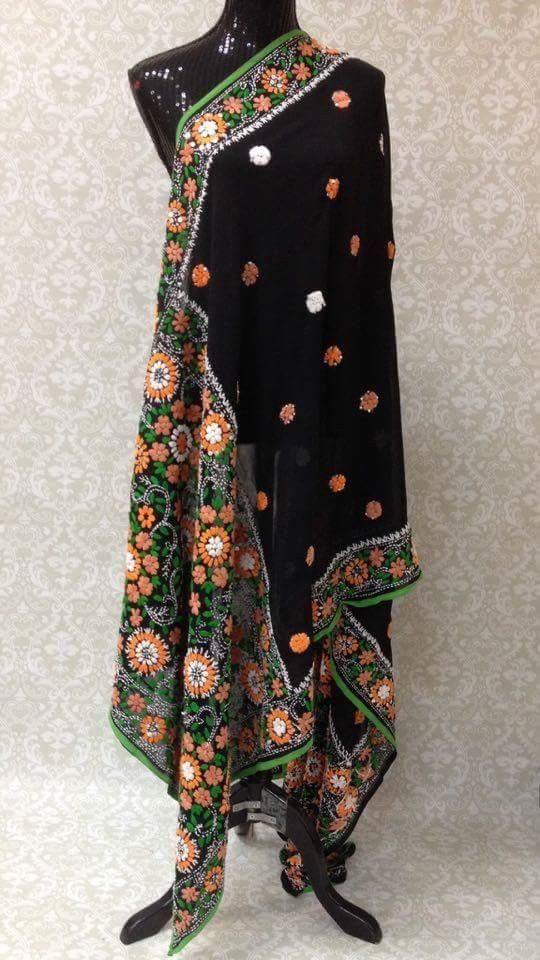 """This beautiful """"fully handmade"""" phulkari with legendary ethnic Bagh/Jaal Embroidery dupatta has all the aura and fragrance from the legends and culture to give you that impeccable gorgeous persona and"""