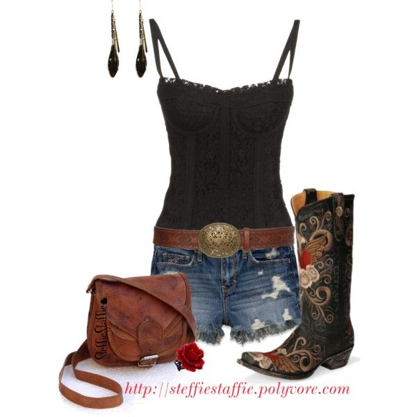 """Black Lace & Old Gringo Boots"" by steffiestaffie on Polyvore"