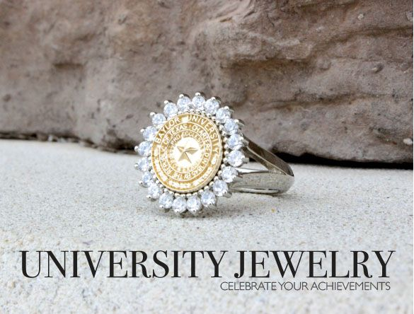 Baylor University Seal ring in yellow gold and white gold. Made by the talented jewelers of University Jewelry at San Jose Jewelers in Waco, Texas. #bayloruniversity #sealrings #class #ring #classring #universityrings #universityjewelry #sanjose #waco #women #womensrings #baylorbears #baylor #baylorring #baylorclassring #sicem