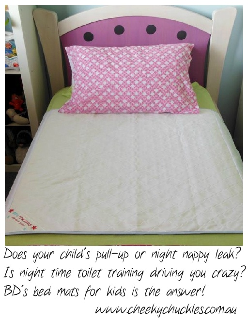 BD's bed mats are an easily removable waterproof mat that absorbs those little accidents in the middle of the night, it can   be quickly and easily removed, with no need to change the sheets.  Machine wash & tumble dry friendly