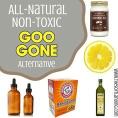 Make your own non-toxic Goo Gone alternative to avoid the flammable, petroleum-based adhesive remover with kerosene, PPG-3 Methyl Ether and D-Limonene