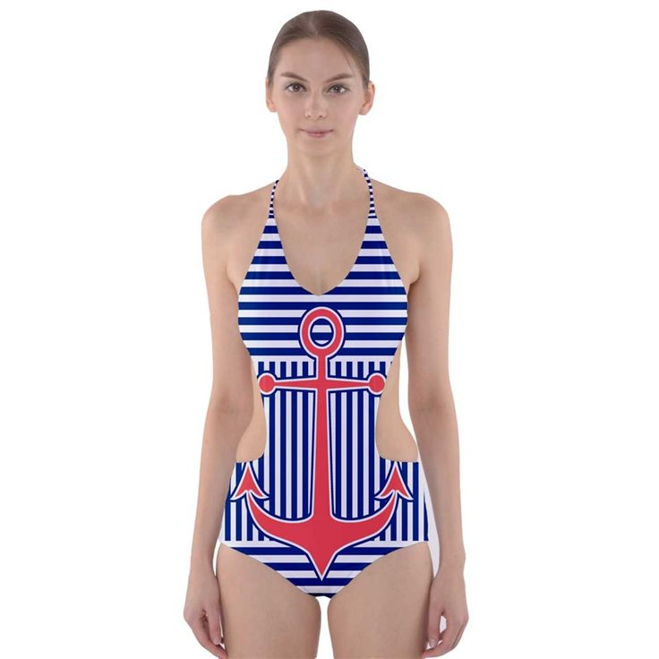 Nautical Cut-Out One Piece Swimsuit. Unusual design: striped swimwear with anchor #nautical #swimwear #swimsuit