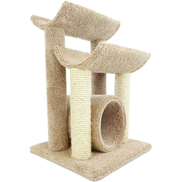 Give your cat a space to play and sleep while preventing scratched furniture with this handy cat scratch furniture. With four scratching posts, this piece gives your cat plenty of special space to scratch, and its heavy bottom helps prevent tipping.