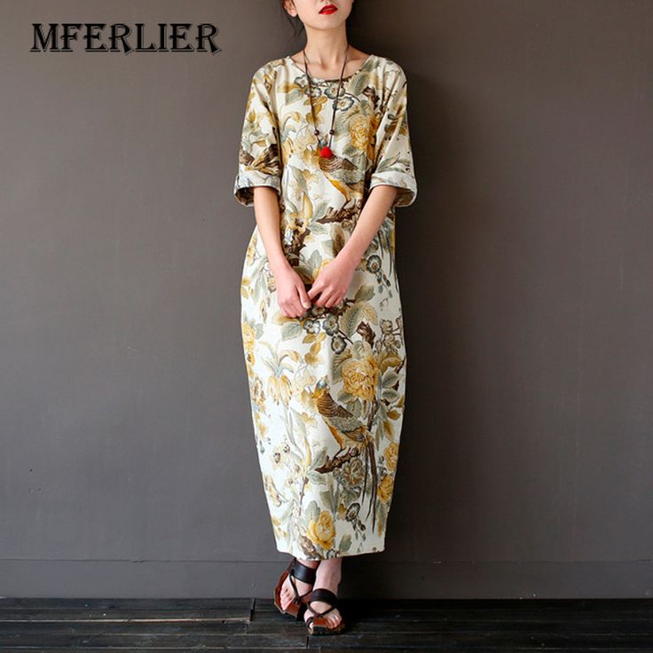 Cheap linen dress, Buy Quality vintage maxi dress directly from China maxi dress Suppliers: Spring Dress O Neck Leisure Loose Three Quarter Sleeve Long Dress Cotton and Linen Dress Vintage Maxi Dress