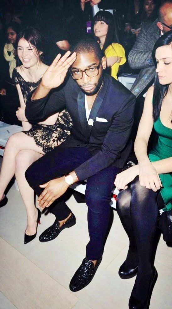 Tinie Tempah wearing the SLOANE slipper at LFW Dapper swag love
