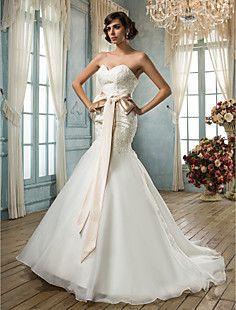trompeta / sirena cariño vestido de boda del organza – CLP $ 169.020