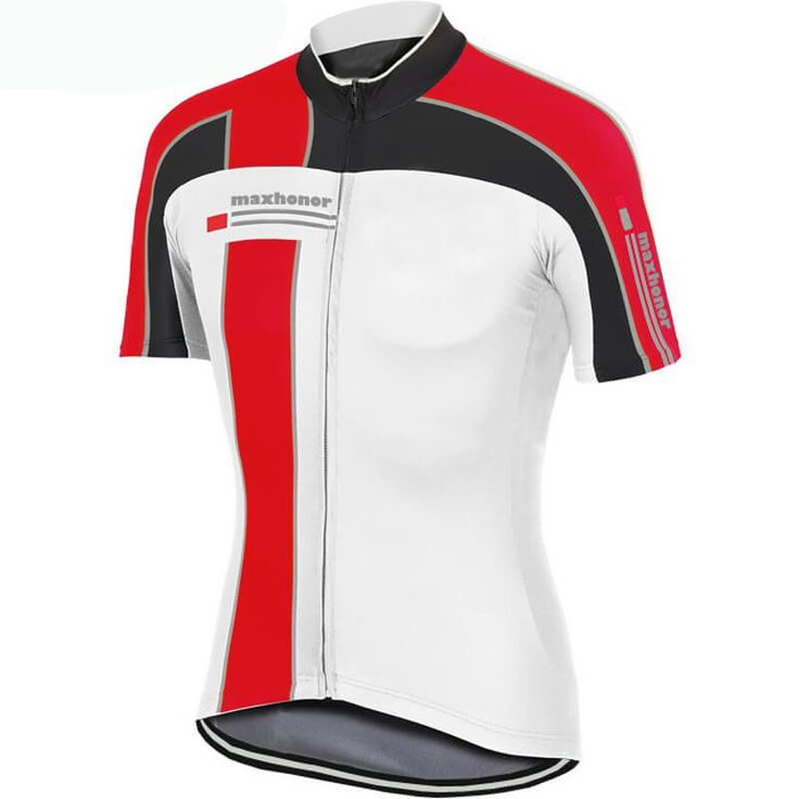 Maxhonor Team Pro Cycling Jersey Red White   Freestylecycling.com
