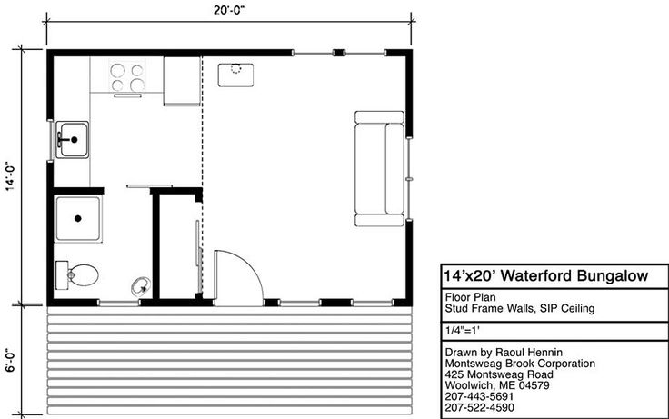 Tiny Home Designs: 14x20 Waterford Cottage Bungalow With A Porch