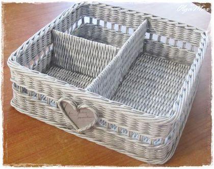 Купить Плетеная корзина для хранения мелочей (резерв) - серый, плетеная корзина, плетение из газет
