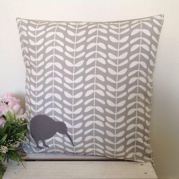 Cushion Cover Grey Leaf Fabric Grey Kiwi by natandalicreative
