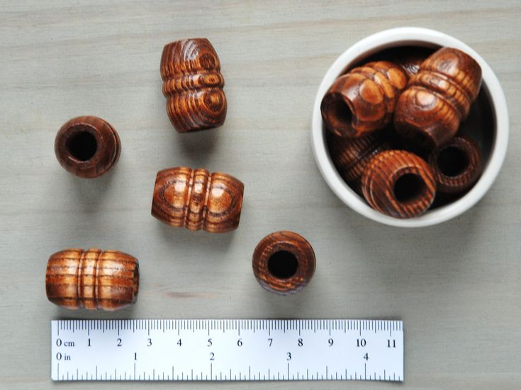 Macrame Beads // Large Wooden Beads // Large Hole Beads // Dark Stained Wood Macrame Beads // Package of 5 // W090 by VintageLoopSupplies on Etsy