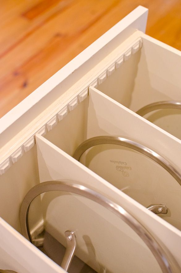 DIY Pots and Pans Organization Using Molding Strips by @Elisabeth Nevins at the Table | Nikki Gladd