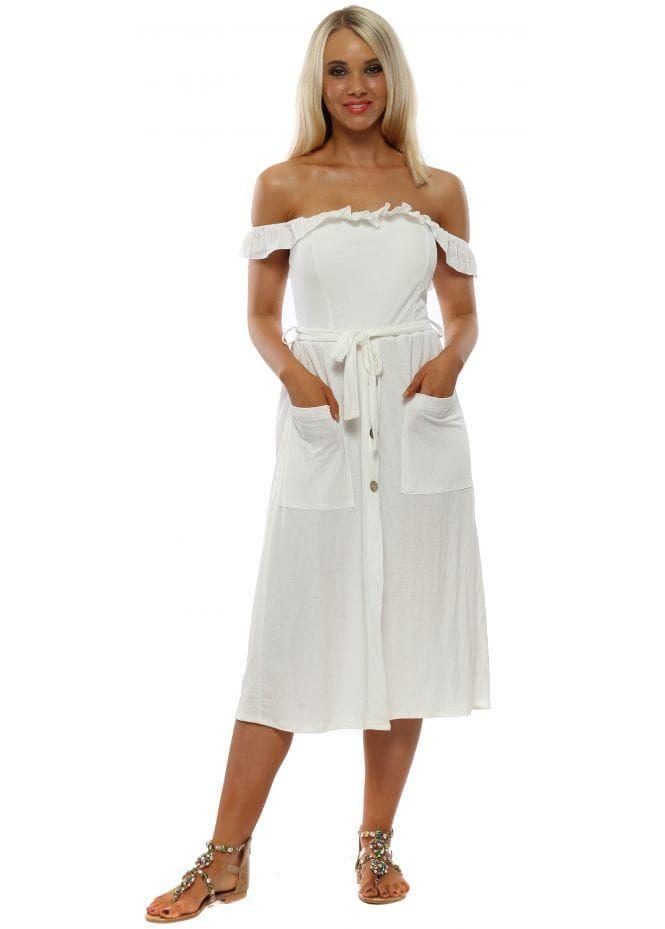 Made In Italy White Ruffle Button Down Midi Dress Dresses Ruffles Fashion Midi Dress
