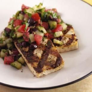 Grilled Tofu with a Mediterranean Chopped Salad RecipeChopped Salads, Salad Recipes, Chops Salad, Grilled Tofu, Mediterranean Diet, Dinner Tonight, Grilled Recipe, Tofu Recipe, Mediterranean Chops