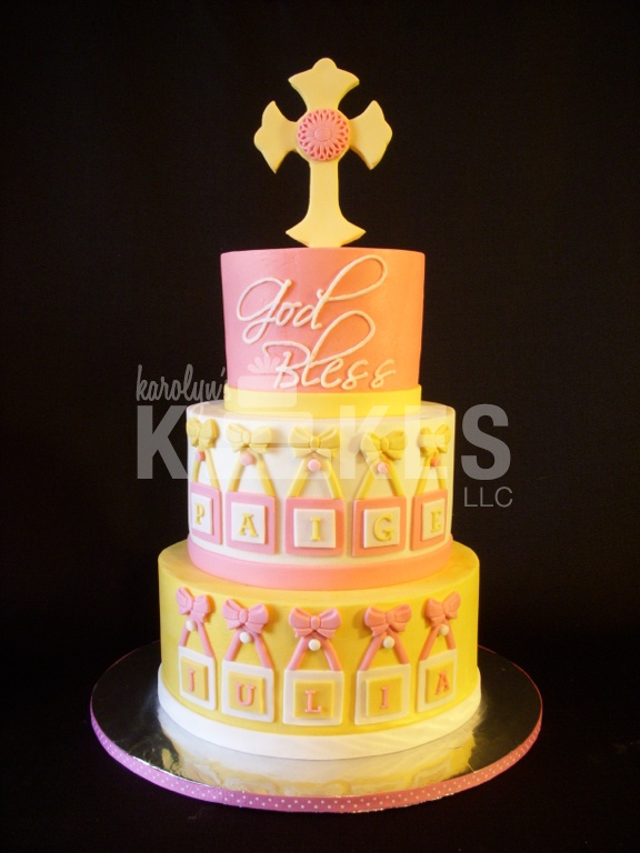 Decorate Cake With Marshmallow Fondant : Baby Girl Christening KAKE! All 3 cake tiers iced in ...