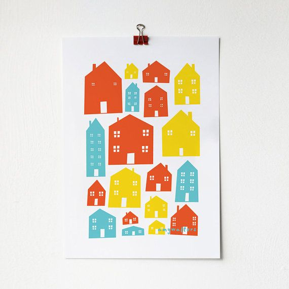 Scandi Houses Print in Primary Colours By amyawalters