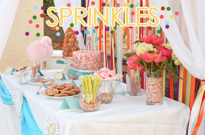 sprinkles themed birthday party from pizzazzerie!