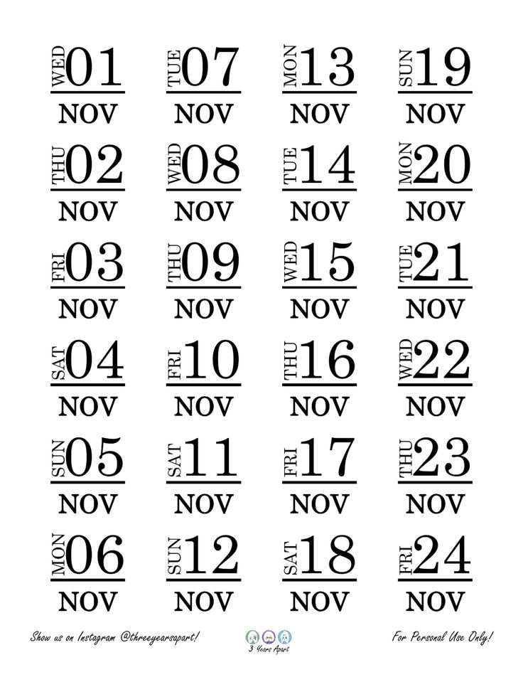 November 2017 Free Bullet Journal and Planner Printable Stickers | 3 Years Apart