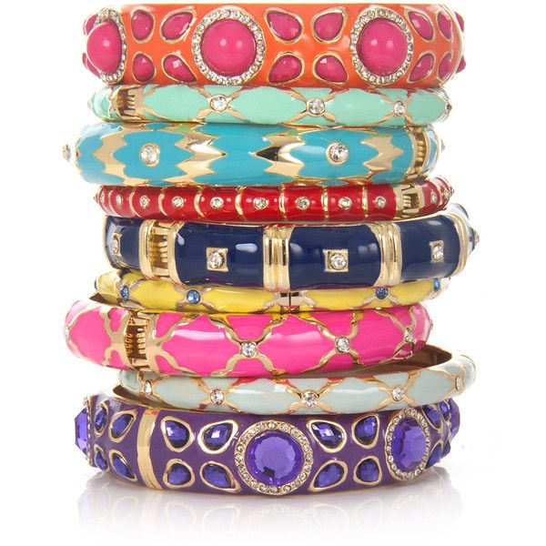 Sequin Enamel Bangles, Assorted Colors ($25) ❤ liked on Polyvore