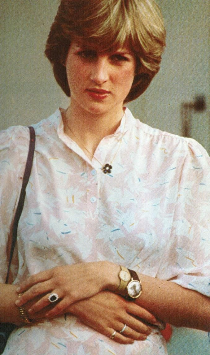 July 26, 1981: Lady Diana Spencer watching her fiance, Prince Charles at the Imperial International Polo Match at the Guards Polo Club, Windsor. She wears the watch many thought that was her 20th birthday gift from Prince Charles as well as his watch on the same wrist.