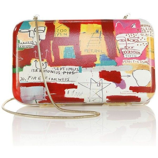 Alice + Olivia Basquiat Dos Cabesas Large Clutch (1.055 BRL) ❤ liked on Polyvore featuring bags, handbags, clutches, apparel & accessories, multi, real leather purses, leather clutches, chain strap purse, snake purse and colorful leather handbags