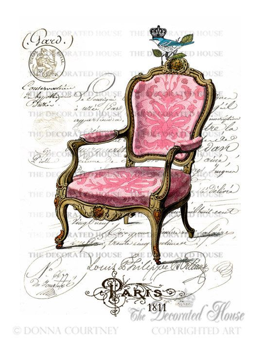 Pink French Chair Art Print with Antique French Script. Paris. 8 x 10  inches. by  The Decorated House on Etsy. $14.00, via Etsy.