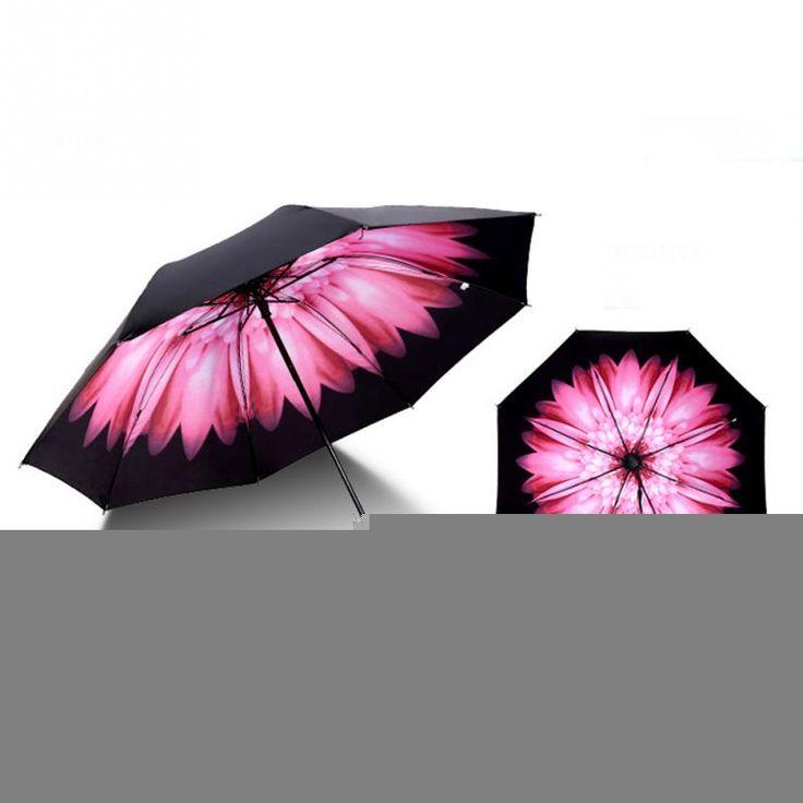 Antivento Reverse Pieghevole Ombrello Pioggia Donne Tre-pieghevole Flower Stampa Soleggiato Doppio Strato Invertito Ombrello Parasole Anti UV
