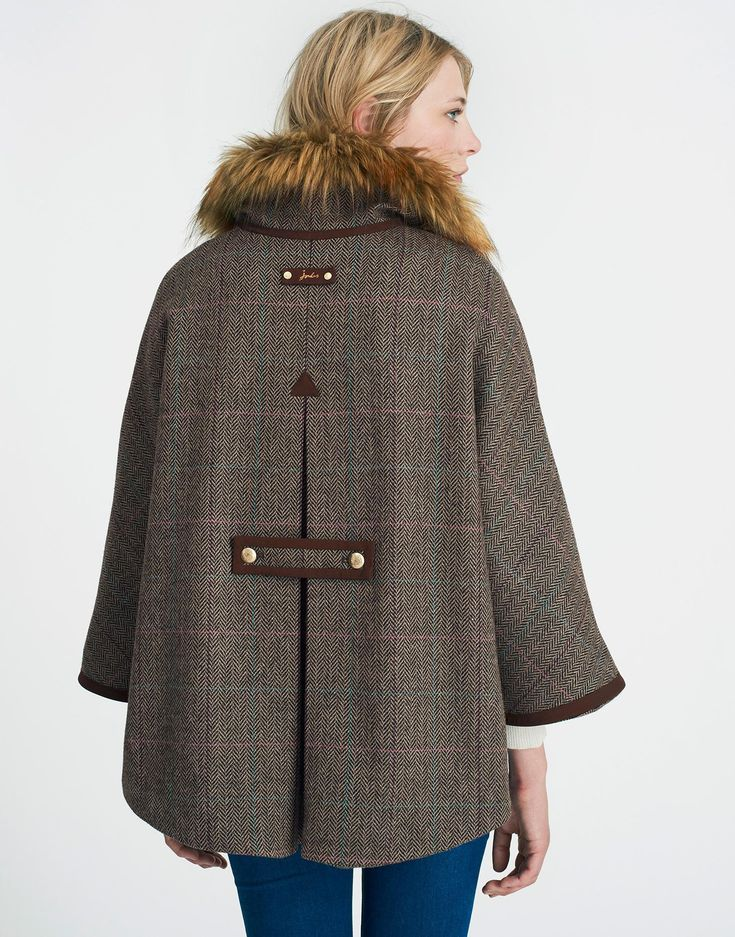 Contessa Isla Herringbone Tweed Cape | Joules UK