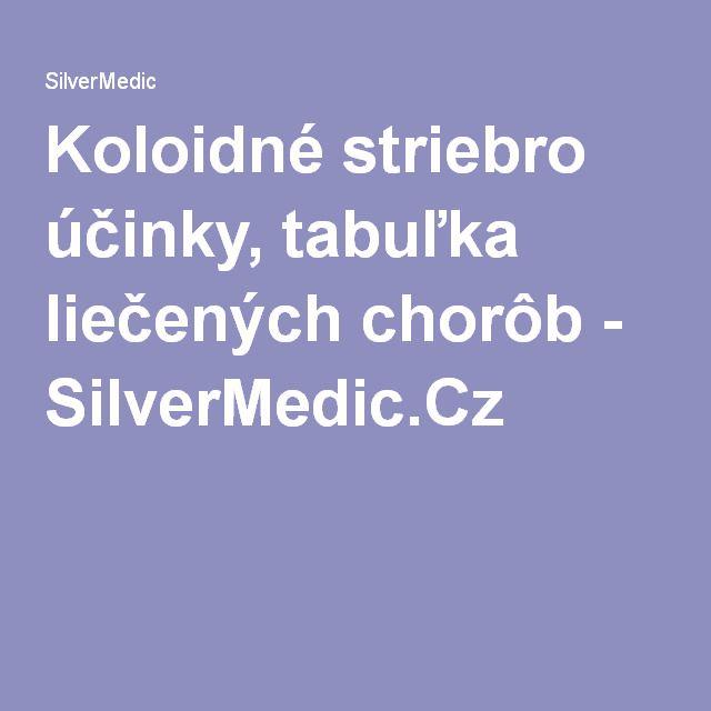 Koloidné striebro účinky, tabuľka liečených chorôb - SilverMedic.Cz
