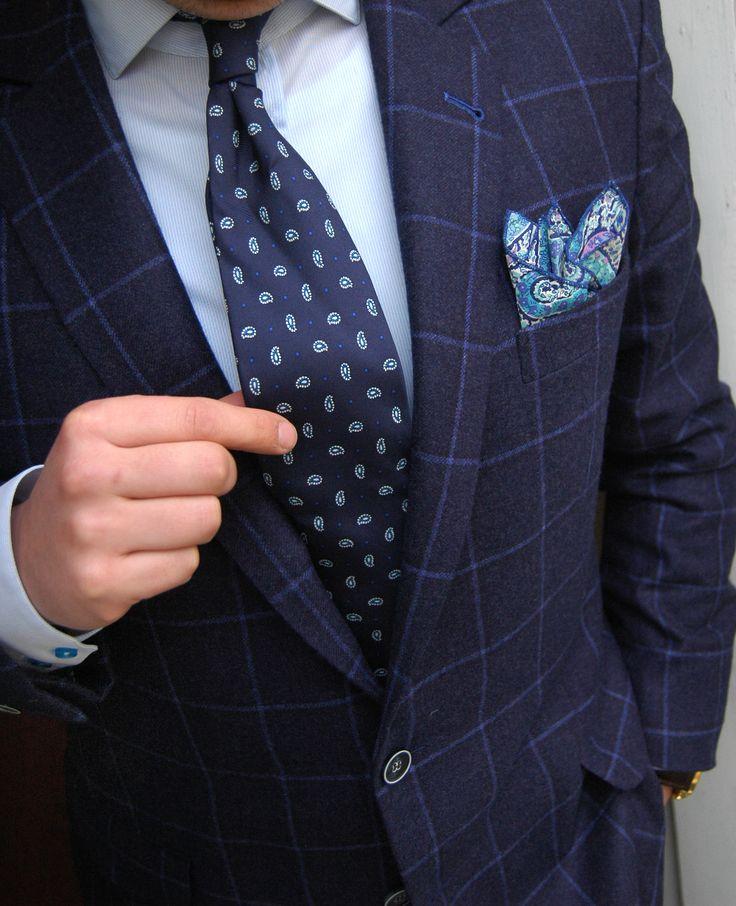 Cristian strikes again! Wearing a superb windowpane custom-made jacket + T.C.S. pocket-square