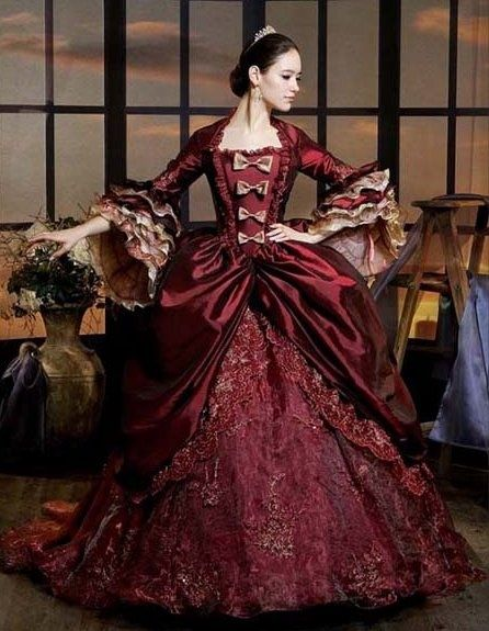 this reminds me of the type of gown that the tailor would have made for Katherine to wear to her sister's wedding. Katherine adores this gown, but Petruchio claims that he hates the gown and denies her of wearing it, proving that he has complete control and power over her. This lesson encourages her that in order to satisfy herself, she must satisfy him as well.