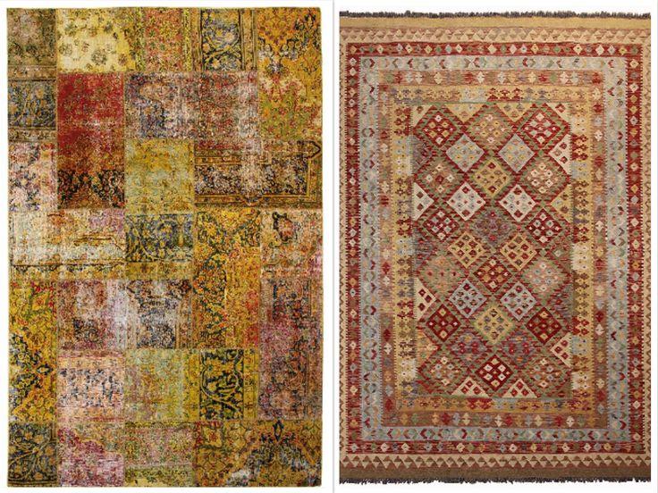 Een patroon op de vloer, durf jij? Rechts een origineel handgeweven kelim, links een handgeknoopt Patchwork #tapijt uit Iran met een kleurrijk patroon. Welke kies jij?  Zojuist een nieuwe zending #patchwork en #kelim #vloerkleden binnen gekregen, kom eens vrijblijvend kijken of bekijk onze website eens: http://koremanmaastricht.nl/tapijten/