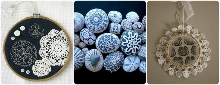 doily crafts, especially the one in the middle. Doilies on pebbles. From http://www.luvinthemommyhood.com