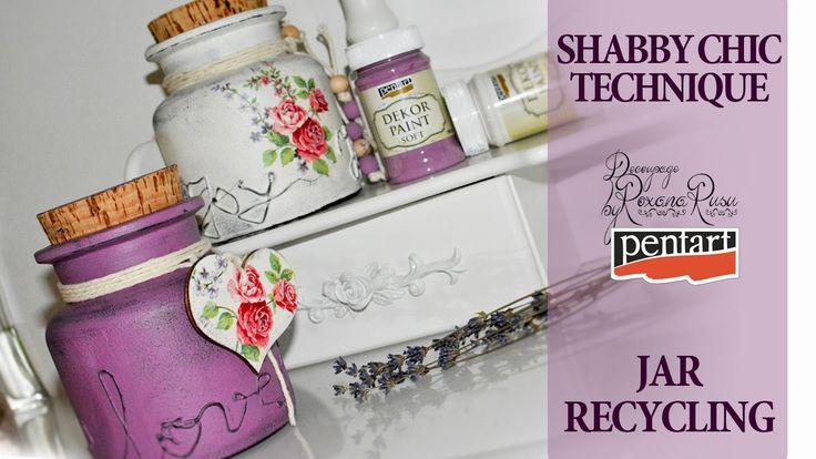 shabby chic glass recycling decoupage tutorial diy jar<<<<