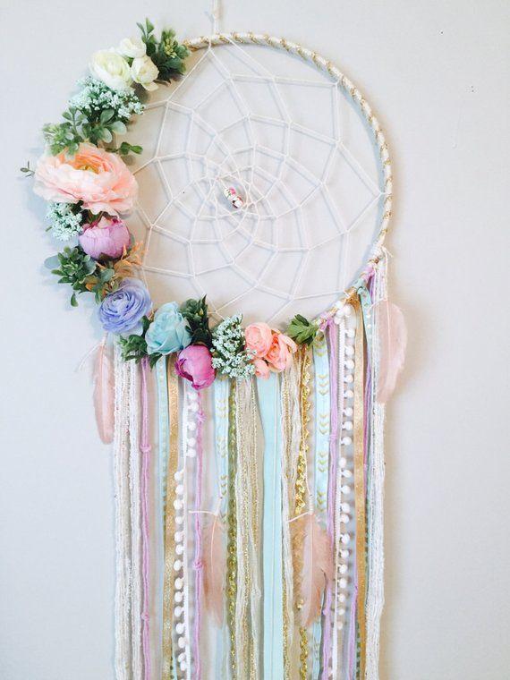 Dreamcatcher, Boho Dreamcatchers, Flower Dreamcatcher, Modern Wall Hanging, Boho Chic Dream Catcher, Dreamcatcher Wall Hanging