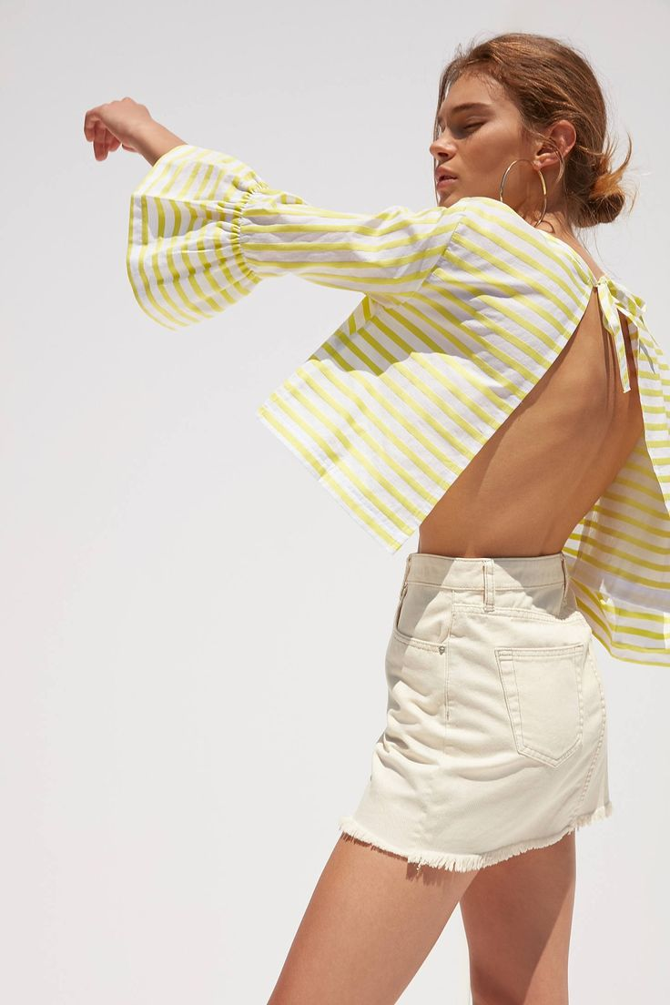 Slide View: 6: Kimchi Blue Bell-Sleeve Open Back Blouse
