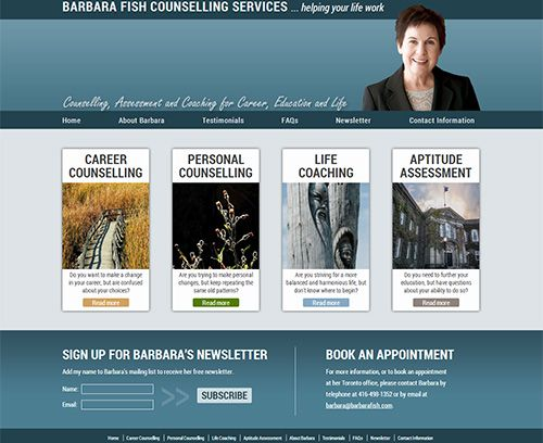 A new web site for the wonderful Barbara Fish, a counsellor in Toronto. We loved working with Barbara and hope she enjoys her new site as much as we do.