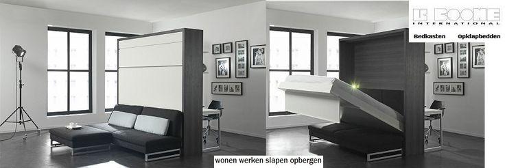 LOFT - Smart : Opklapbed met bank als roomdivider. Achterzijde een bureau met boekenkast. Bedmaat : 90,140,160,180 cm. breed.Slaapkenner Theo Bot - Haal meer uit je dag!