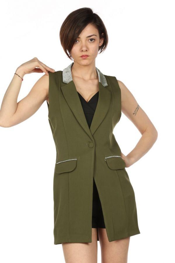 Onu Dugmeli Yesil Klasik Yelek Ceket Kapida Odemeli Ucuz Bayan Giyim Alisveris Sitesi Modivera Giyim Yelek Siyah Abiye