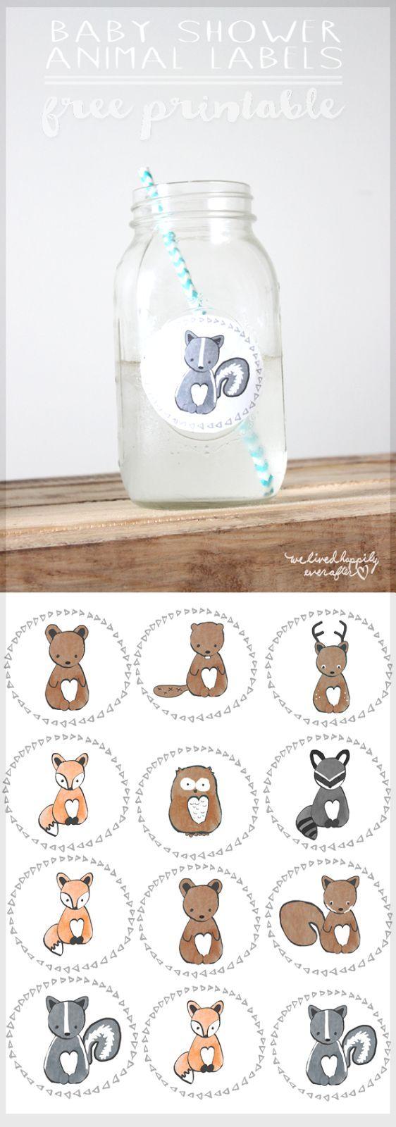 Free Forest Animal Mason Jar Baby Shower Label Printables   We Lived Happily Ever After   Bloglovin'