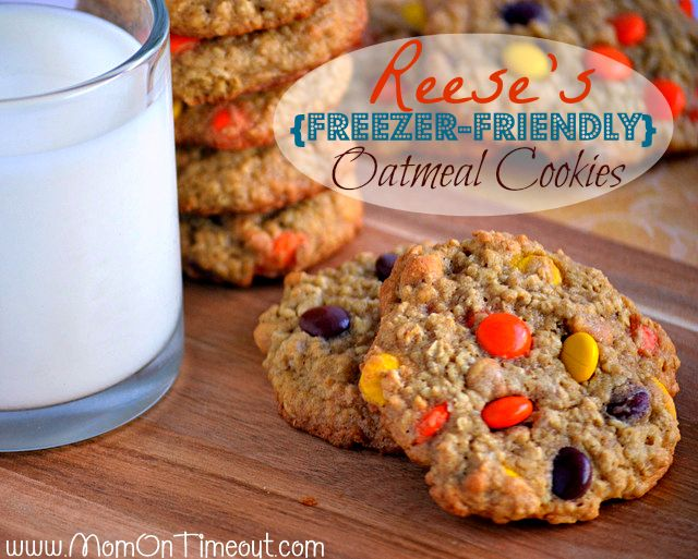 Reese's {Freezer-Friendly} Oatmeal Cookies features not one, but TWO types of Reese's. Make up a batch and eat half now and freeze the other half for later!