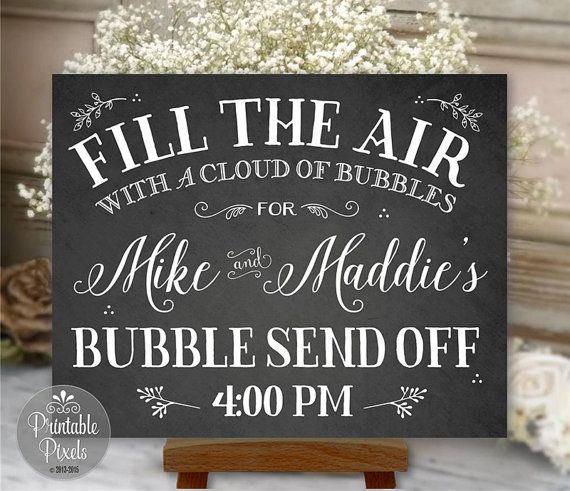 Bubble Send Off Sign Chalkboard Printable Wedding Digital Personalized with Names and Time - Printable Pixels