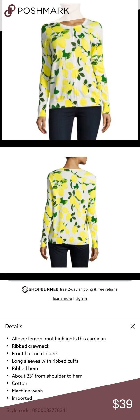 Lord&taylor yellow lemon cardigan new M New without tags.   Length 24 Armpit 18 Sleeve 25  Cotton  No smoke, no pets here 😊 Lord & Taylor Sweaters Cardigans