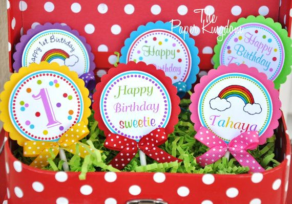Rainbow Cupcake Toppers with Bows  Set of 12 by thepaperkingdom, $13.00