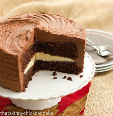 Chocolate Layer Cake Filled with White Chocolate Ganache @Liz Berg (That Skinny Chick Can Bake!!!)