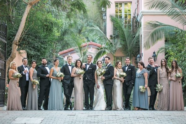Destination La Wedding With Natural Rustic Organic Decor Inside Weddings Bride And Groom Pictures Bridesmaids And Groomsmen Mismatched Dresses