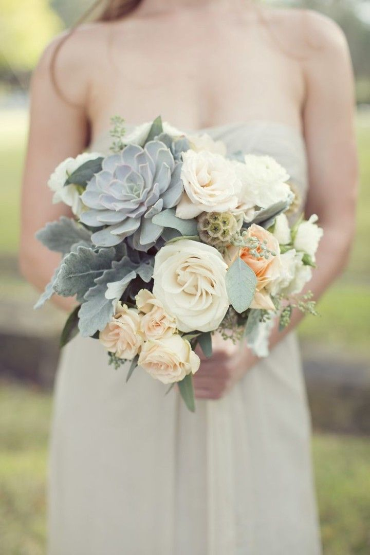 50 Shades of Greyed Jade Wedding Ideas - bridal bouquet; via Style Me Pretty