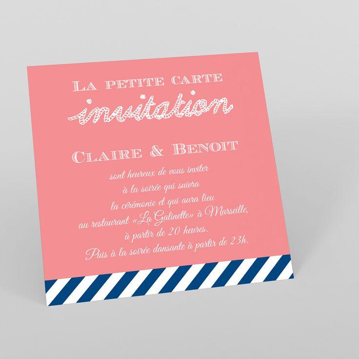 """Indispensable pour informer vos proches des différentes étapes de votre journée de mariage : la carte d'invitation! Cette carte """"Navy Corail"""", à insérer dans votre faire-part de la même gamme, est très tendance avec son fond couleur corail et ses rayures marinières rappelant assurément le thème marin. Avec ce carton d'invitaion, un vent de modernité souffle sur votre mariage. Cette carte fait partie ..."""